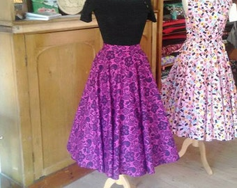 Full Circle Skirt in Cerise Lace Print 100% Cotton
