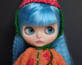 FREE Hydrangea paniculata hat! Ooak Custom Blythe Doll: Kitty and the cat