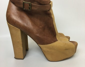 Two tone brown leather 1970s style Steve Madden Platform