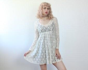 Lace Mini Dress 90s // Vintage Babydoll Dress White Long Sleeve Sheer Mini - Small