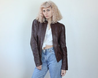 Brown Leather Jacket // Vintage 80s Bomber Coat 70s Mens Womens - Small to Medium