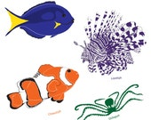 Fish and octopus clip art images of Blue Tang, Clownfish, Lionfish and Octopus, marine life vectors - instant download