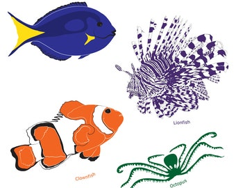 Marine life clip art, fish vectors, Blue Tang, Clownfish, Lionfish and  Octopus