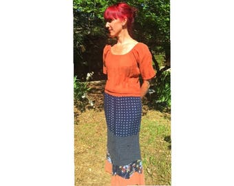 Upcycled recycled repurposed eco-friendly rust peasant maxi dress refashioned boho gypsy hippie prarie recycled reclaimed redeemed