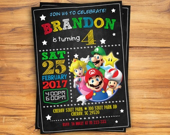 Super Mario Birthday Invitation, Chalkboard Super Mario Custom Card, Mario Bros Party Invites, Super Mario Digital Printable Invitation
