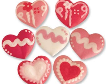 Assorted Decorated Sugar Heart Decorations - Cupcake, Cake and Cookie Sugar Decorations. Edible Cake Toppers. Pack of 8.
