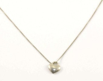 Vintage Heart Shape Pendant Necklace 925 Sterling Silver NC 320