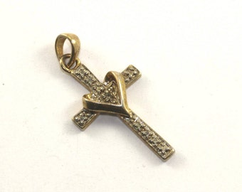 Vintage Cross Gold Tone Pendant 925 Sterling Silver PD 162