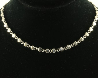 Vintage Ladie's Heart Link Chain Necklace 925 Sterling Silver NC 78-E