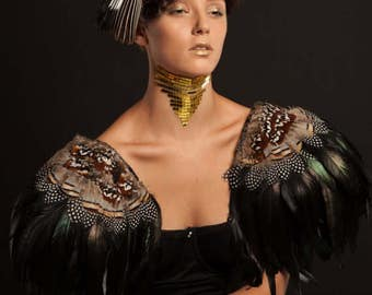 Black feather epaulettes. Huge oversize black and natural feather shoulder pads. Burning Man Festival. 'Raven'