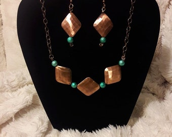 Copper and Teal Necklace and Earrings