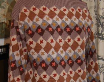 Patterned hand made wool jumper vintage 10/ 12
