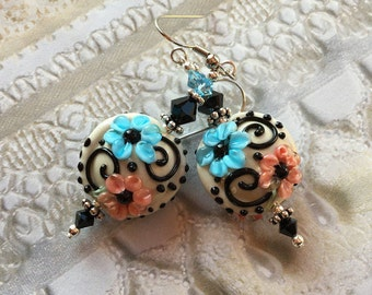 Blue and Pink Flower/Floral Earrings, Lampwork Jewelry, SRA Lampwork Jewelry, Mothers Day, Gift For Her