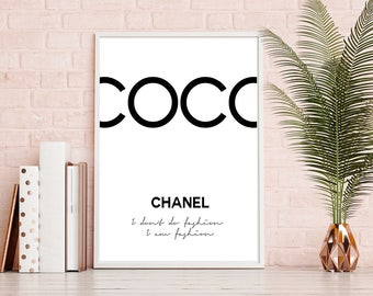 Coco Print, Chanel Quote, I am fashion Print, Digital Download, Coco Chanel Printable, Fashion Wall Art, Make up Print, Chanel Quotes Poster