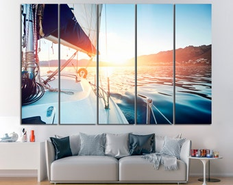 Yacht Canvas Print Yacht Wall Art Yacht Panel Art Sailboat Wall Art Sailboat Wall Decor Sailboat Canvas Art Yach Large Wall Art Sailboat Art