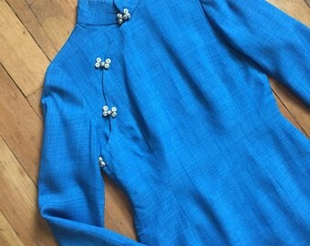 vintage 1960s Cheongsam dress // 60s blue cheongsam wiggle dress