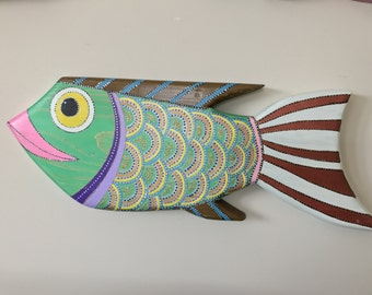 Wooden Fish Wall Art wood fish art wood fish wall art wooden fish decor colored