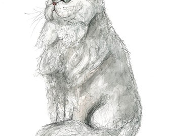 Persian Cat, illustration in watercolor, A5 or A4 sheet