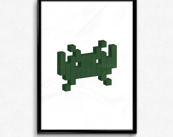 Space Invader - Dark Green