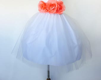 White Flower Girl Dress Coral Floral Belt Photoshoot Gown Wedding Bridesmaid Newborn Toddler Birthday Easter Recital Classic Party Pageant