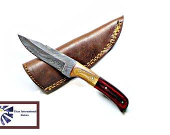 Damascus Steel Skinner Knife, Drop point blade / Olive & Pekka wood Grip by Titan Td-342