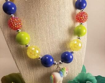 Bubblegum Rainbow Horse Necklace, Blue Chunky Necklace, Rainbow Horse Necklace, Bubblegum Necklace