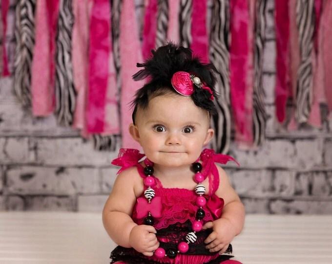 Baby Girls Over The Top Feather Headband, photo prop, birthday headband, baby headband, baby bows, hot pink headband, black, shabby chic