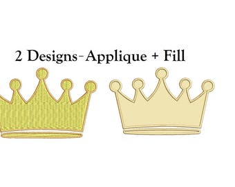 Crown Embroidery Design - Applique + Fill designs instant download