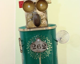 262 - Green and gold tin can robot character lamp