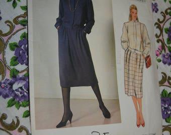 Vogue 1186 Oscar De La Renta Misses Top and Skirt Sewing Pattern - UNCUT Size 10