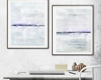 Abstract Print Digital Download Set Of Two Printable Art  Gray White Lavender Modern Contemporary Painting Interior Design Wall Decor Purple