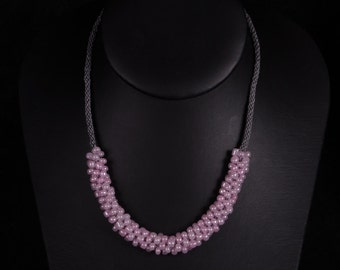 Pink and Grey Kumihimo Necklace