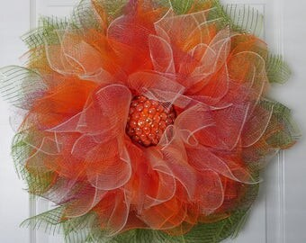 Orange Ombre Sunflower Wreath with glass bead center, door wreath, everyday wreath, home decor, gift, spring, summer,