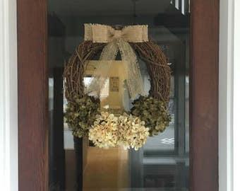 Green Burlap Bow Hydrangea Wreath, Front Door Wreath, Hydrangea Wreath, Front Door Decor, Front Porch Decor, Burlap Wreath, Rustic Wreath