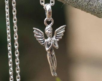 Angel Necklace, Sterling Silver Angel Pendant, Silver Necklace, Angel Jewellery, Silver Angel, Silver Pendant, JP0015