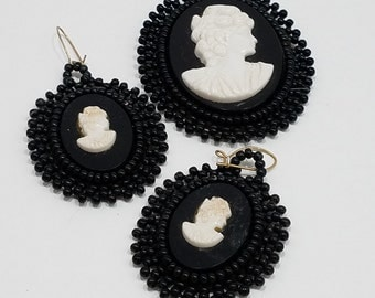 Charming Handmade Beaded Cameo Brooch and Earrings