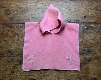 Pink Poncho, pure wool