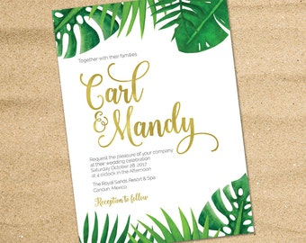 Tropical Wedding invitation, Destination Wedding, Beach Wedding, Tropical Palm Leaves, Green leaves invitation, Hawaii Wedding, Printable