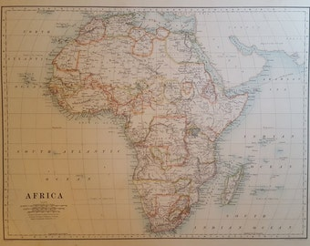 Original Antique Map of Africa