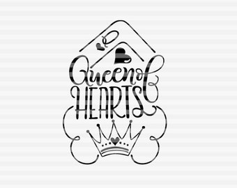 Queen of hearts crown - SVG - PDF - DXF -  hand drawn lettered cut file - graphic overlay