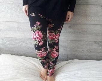 Leggings for women - pink flowers on black background