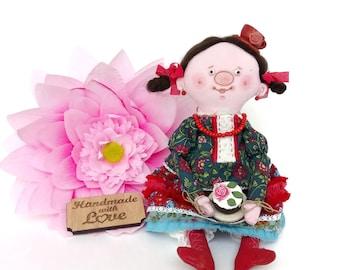 Tea time doll Tea lovers gift Handmade soft doll Coffee lover gift Tea theme Gift for tea lover Valentines gift Mom gift Wife valentine gift