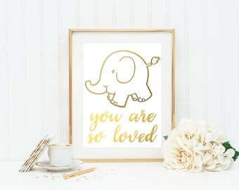 You Are So Loved Sign / Elephant Nursery Decor / Elephant Nursery Art / New Mom Gift / Elephant Decor / New Baby Gift / Elephant Baby Shower