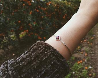 Silver bracelet with 13 garnets silver bracelet Red Garnet silver Bracelet Silver Garnet Bracelet January Birthstone Bracelet