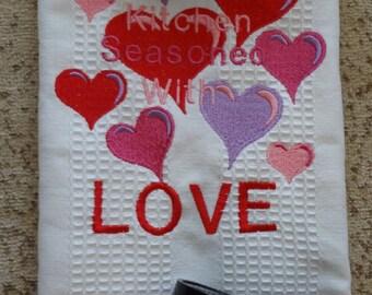 Embroidered Valentines Day Love kitchen towel