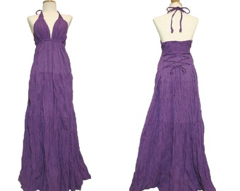 Women Long Purple Maxi Dress - Bridesmaid Dress / Evening Long Gown / Wedding Dress / Deep V neck Pleated Smocked Purple Dress - LD003