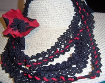 chanel necklace lace and poppy black red lace chanel whith poppy