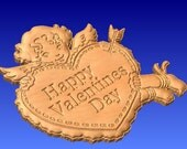 Happy Valentine's Day Cupid with Heart cnc wood carving stl relief pattern, This is the 3d pattern only.  For cnc projects and 3d clipart