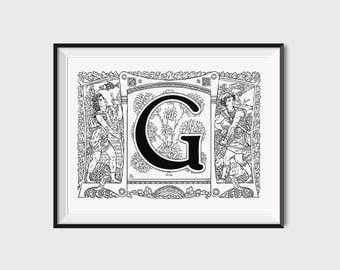 Printable Calligraphy Art, Instant Download Calligraphy Print, Printable Letter G Monogram Print, Art Nouveau Monogram Letter, Monogram Art