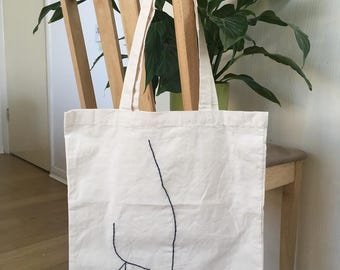 Hand embroidered natural cotton shopping tote bag Picasso